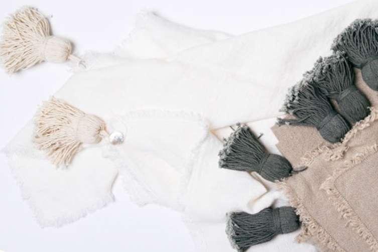 Jessie Black Jemima Belgian Linen Throw with Removable Pom Poms