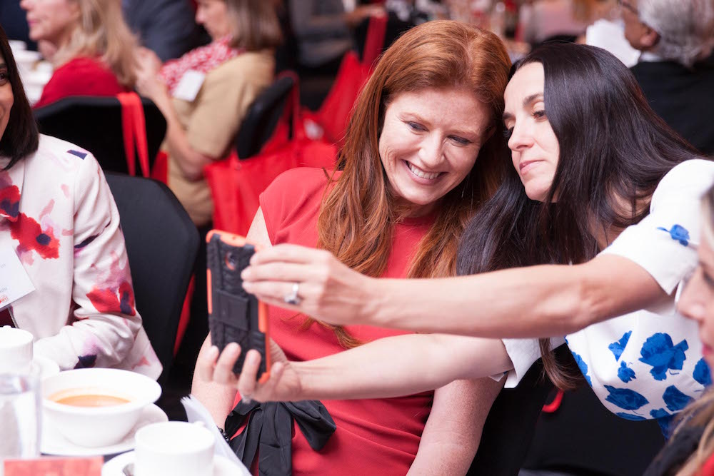 Goldin poses for a selfie at the GoRed for Women Luncheon
