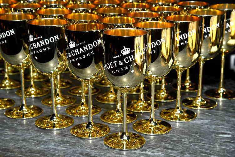 Moet & Chandon glasses, all in a row