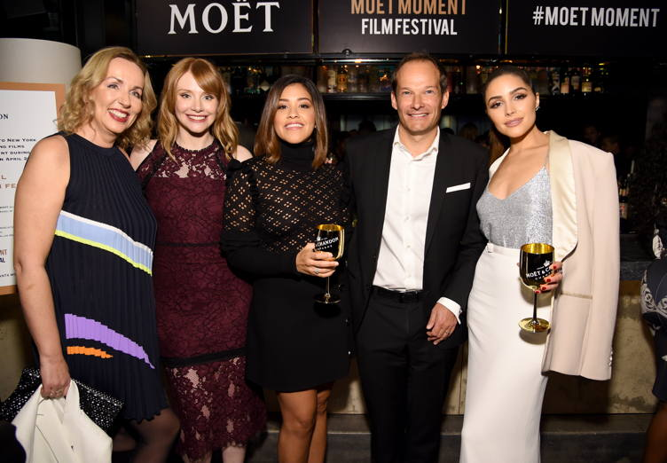 HFPA Judge Elisabeth Sereda, actress Bryce Dallas Howard actress Gina Rodriguez , Moet and Chandon VP Renaud Butel and actress Olivia Culpo attend Moet & Chandon Celebrates The 2nd Annual Moet Moment Film Festival and Kicks off Golden Globes Week at Doheny Room