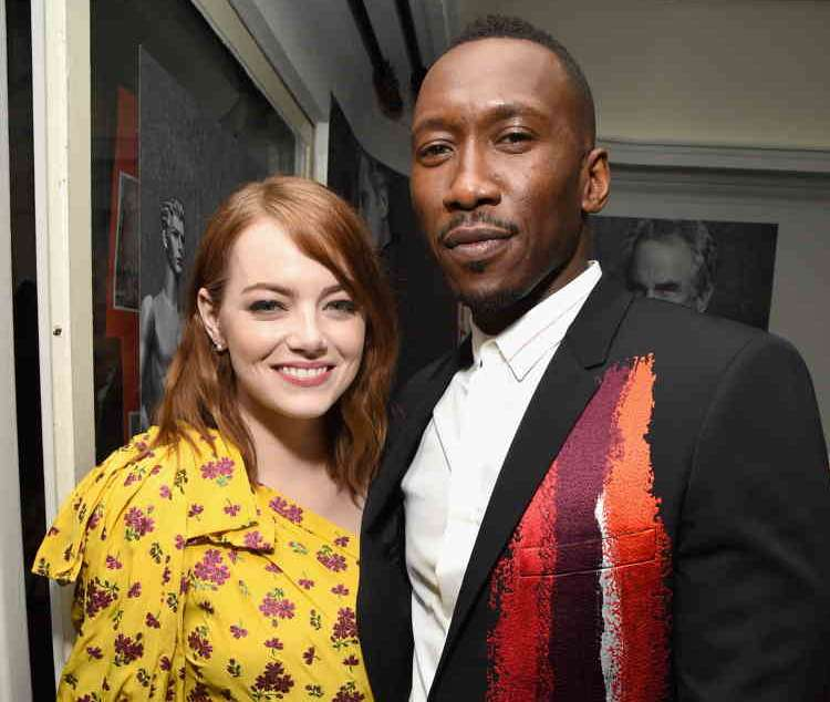 Golden Globes nominees Emma Stone (L) and Mahershala Ali attend Audi, Moet & Chandon and W Magazine celebrate the Golden Globes fete