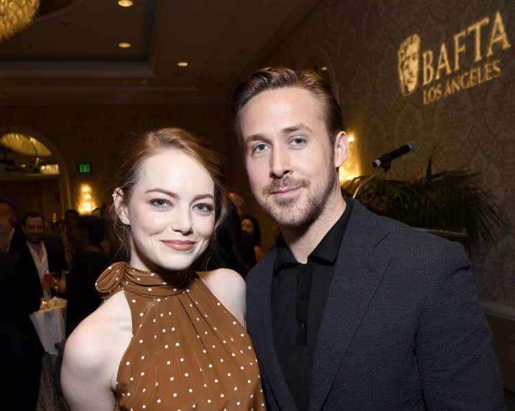 La La Land co-stars Emma Stone and Ryan Gosling attend The BAFTA Tea Party at Four Seasons Hotel Los Angeles at Beverly Hills