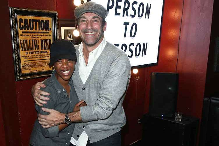 "Samira Wiley and Jon Hamm attend the J. Crew, Vulture and New York Magazine hosted official ""Person to Person"" after party at Rock & Reilly's"