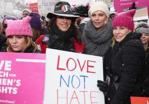 Zoey Deutch, Jennifer Beals, Charlize Theron, and Chelsea Handler attend The March On Main hosted by Chelsea Handler on January 20