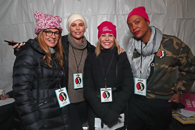 Connie Britton, Charlize Theron, Chelsea Handler, and Aisha Tyler attend The March On Main hosted by Chelsea Handler