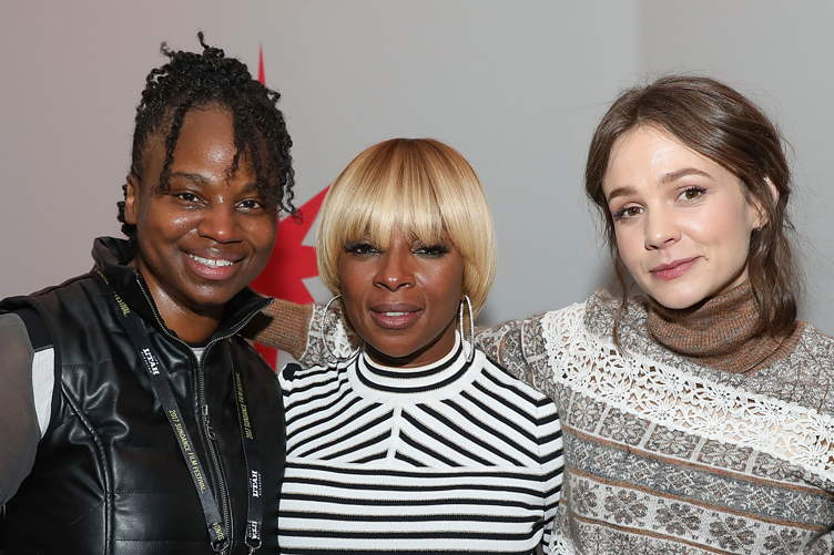 Dee Rees, Mary J. Blige and Carey Mulligan at the 'Mudbound' party in the Stella Artois Filmmaker Lounge