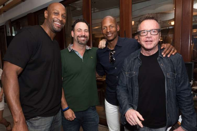 Alonzo Mourning, Mark Groussman, Ray Allen and Tom Arnold