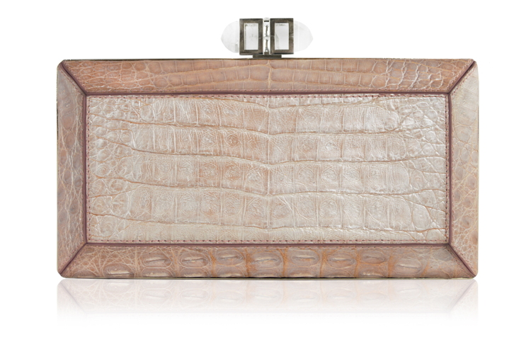 Crocodile Nude evening bag
