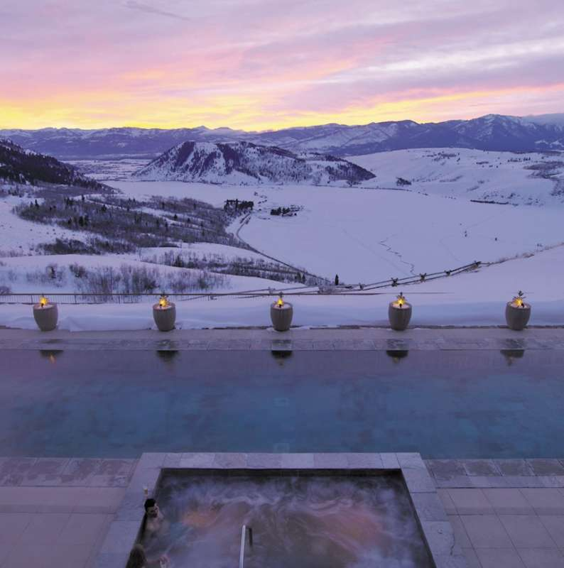 Amangani's pool at sunset