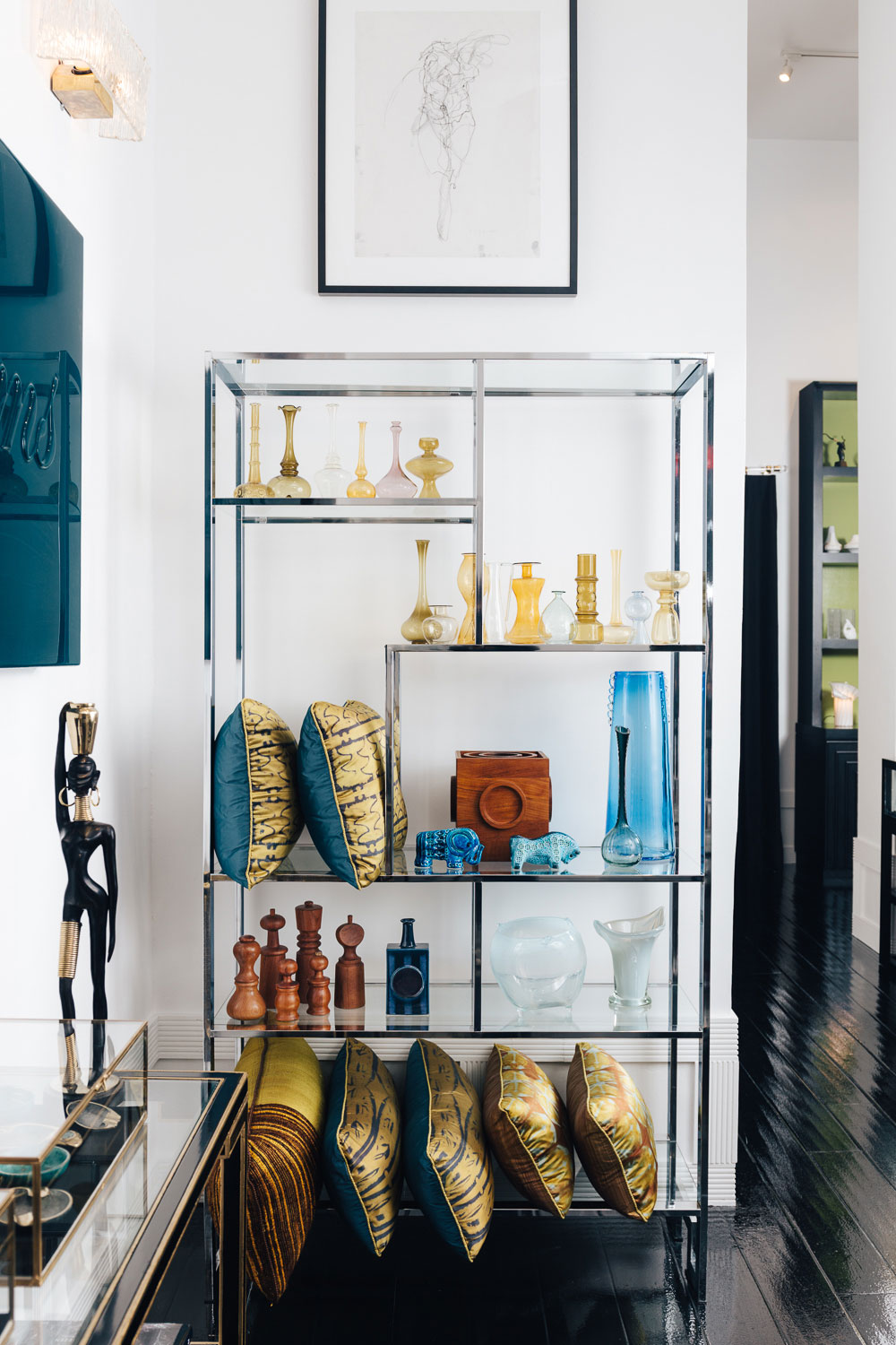 Shelves filled with luxe treasures