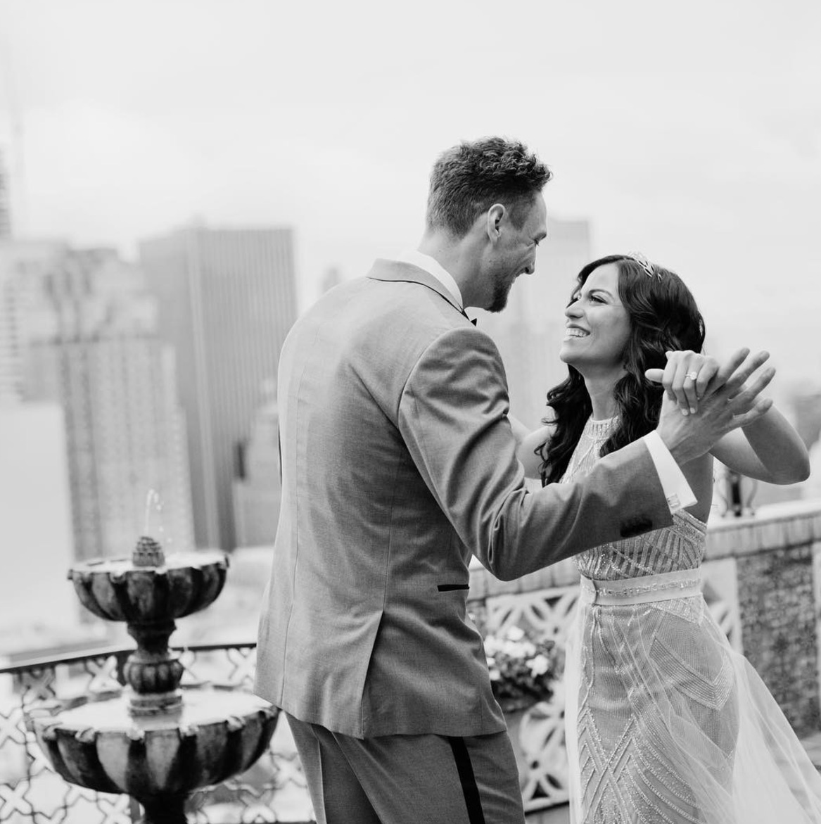 Hunter Pence and his bride, Alexis, on their wedding day