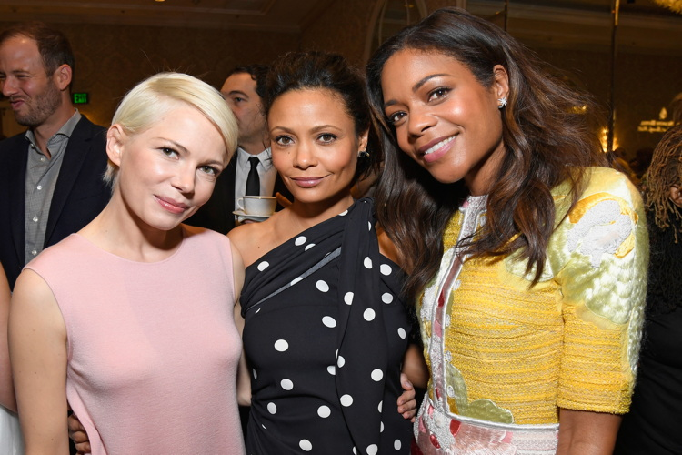 LOS ANGELES, CA - JANUARY 07: (L-R) Actors Michelle Williams, Thandie Newton and Naomie Harris attend The BAFTA Tea Party at Four Seasons Hotel Los Angeles at Beverly Hills on January 7, 2017 in Los Angeles, California. (Photo by Matt Winkelmeyer/BAFTA LA/Getty Images)