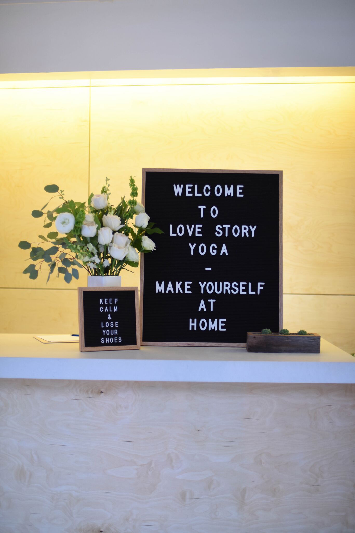 The front desk at Love Story Yoga