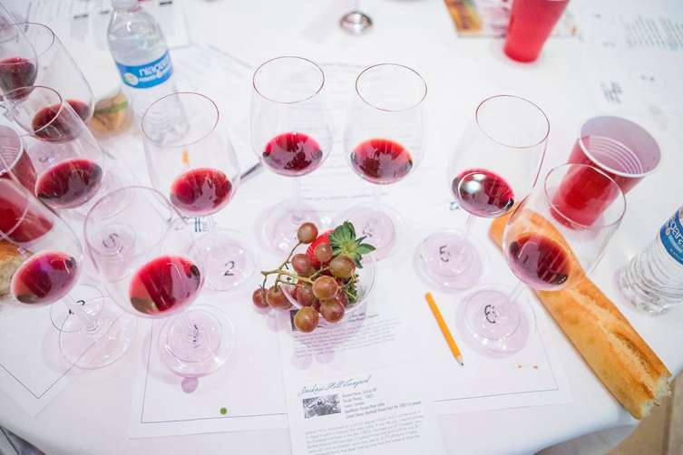 Wine glasses at last year's flight seminar