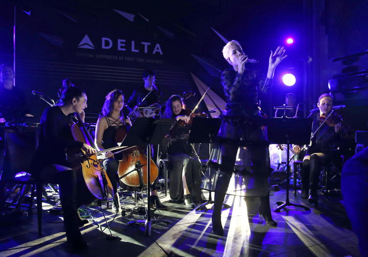 Halsey performs onstage at the Delta Air Lines official Grammy event