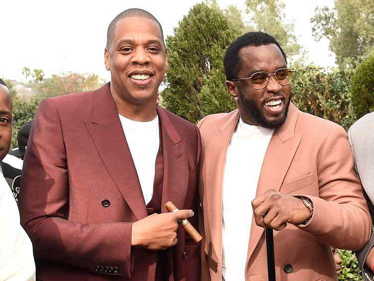 Jay Z and Sean Combs attend 2017 Roc Nation Pre-GRAMMY brunch at Owlwood Estate on February 11)
