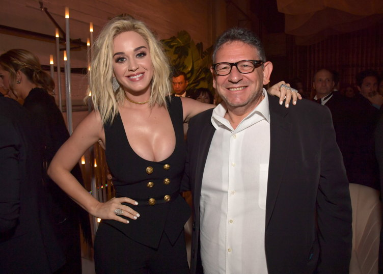 Singer/songwriter Katy Perry (L) and Chief Executive Officer of Universal Music Group Lucian Grainge attend Universal Music Group 2017 Grammy after party