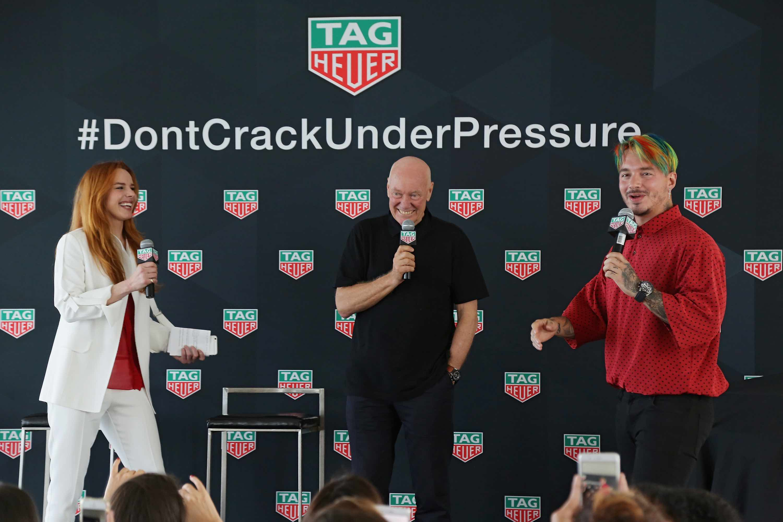 Eglantina Zingg and Jean-Claude Biver CEO TAG Heuer attend press conference to announce that J Balvin Joins TAG Heuer's Family Of Superstars