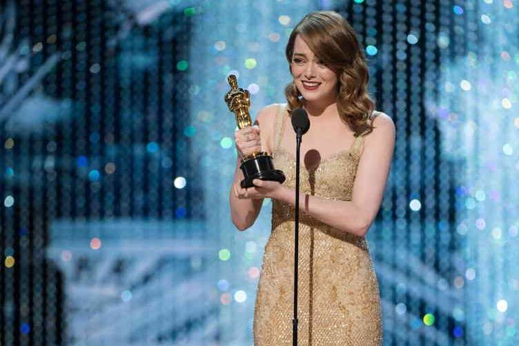 "Emma Stone accepts the Oscar® for Performance by an actress in a leading role, for work on ""La La Land"" from Leonardo DiCaprio during the live ABC Telecast of The 89th Oscars® at the Dolby® Theatre in Hollywood, CA on Sunday, February 26, 2017."
