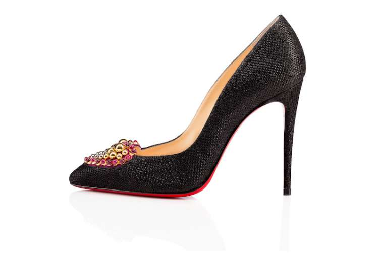 Christian Louboutin Coralta - black point toe pump with beaded heart