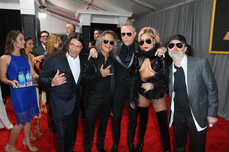 Recording artists Robert Trujillo, Kirk Hammett, James Hetfield, Lady Gaga and Lars Ulrich of music group Metallica attend The 59th GRAMMY Awards