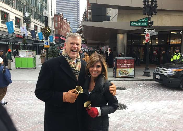 Maria Stephanos and Governor Charlie Baker