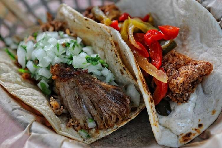 Pork Carnitas and Fried Fish Tacos