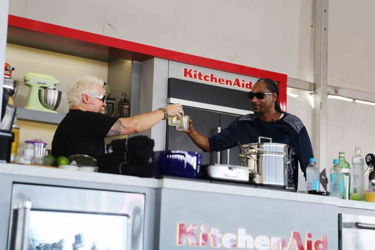 Snoop Dogg and Chef Guy Fieri host Tanqueray Gin and Juice Themed Cooking Demo at the 2017 Food Network and Cooking Channel South Beach Wine & Food Festival on February 25