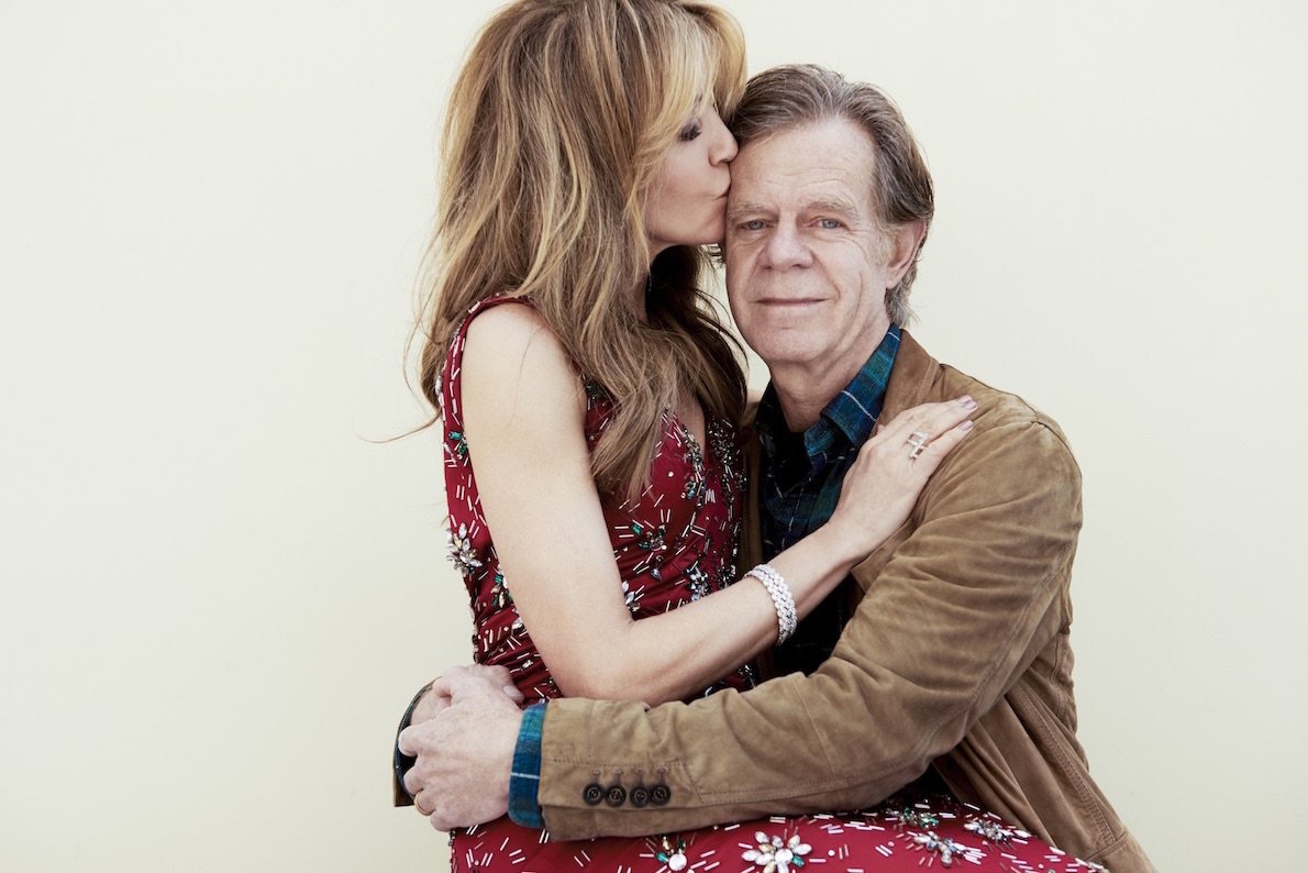Felicity, with husband William H. Macy, is wearing a Kayat gown and Martin Katz jewels