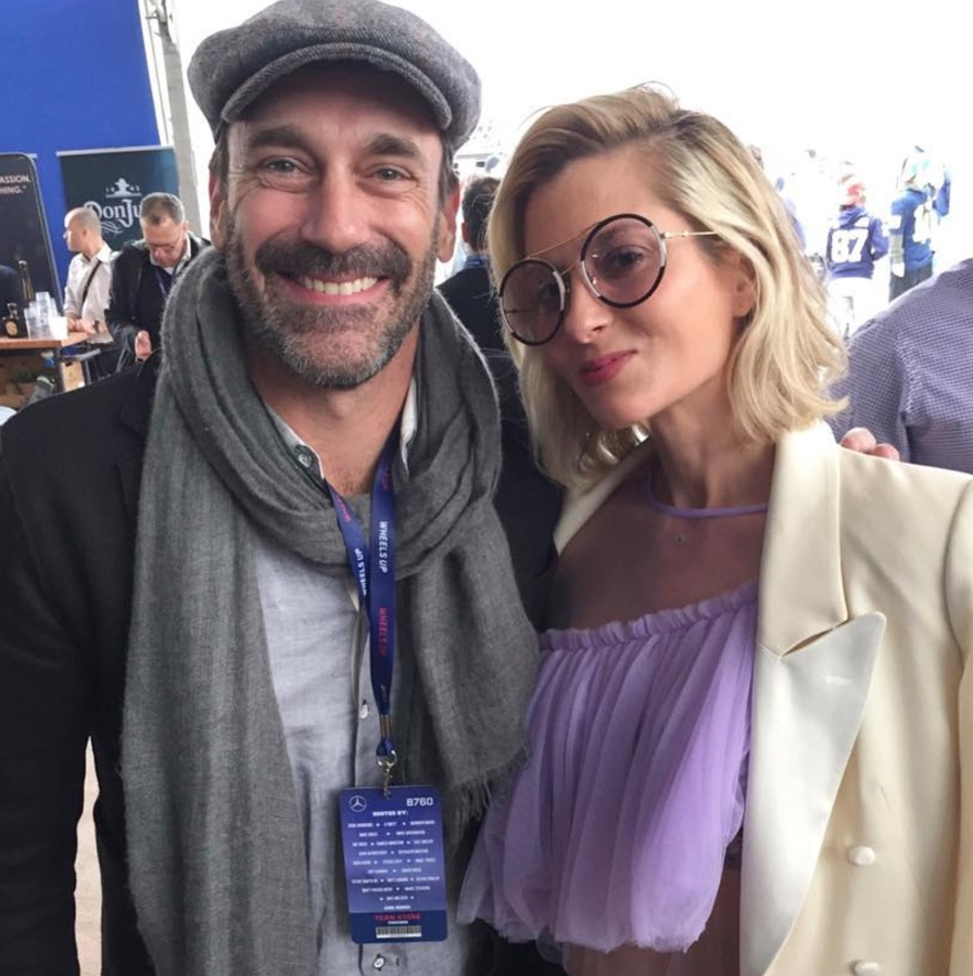 Jon Hamm and Mary Gonsalves Kinney at the Wheels Up Super Bowl party
