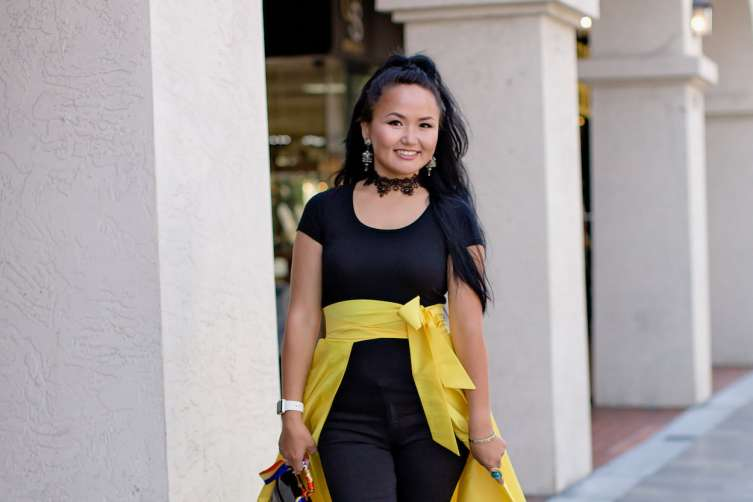 Altana wears a skirt from her personal fashion collection