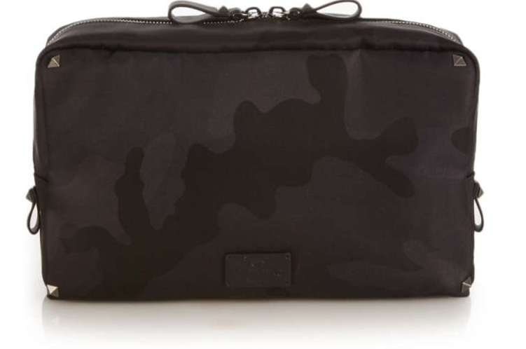 Valentino Leather-Trimmed Camouflage-Jacquard Shell Wash Bag
