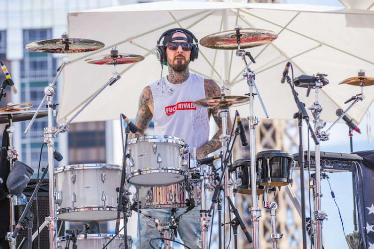 Travis Barker performs at Drai's.