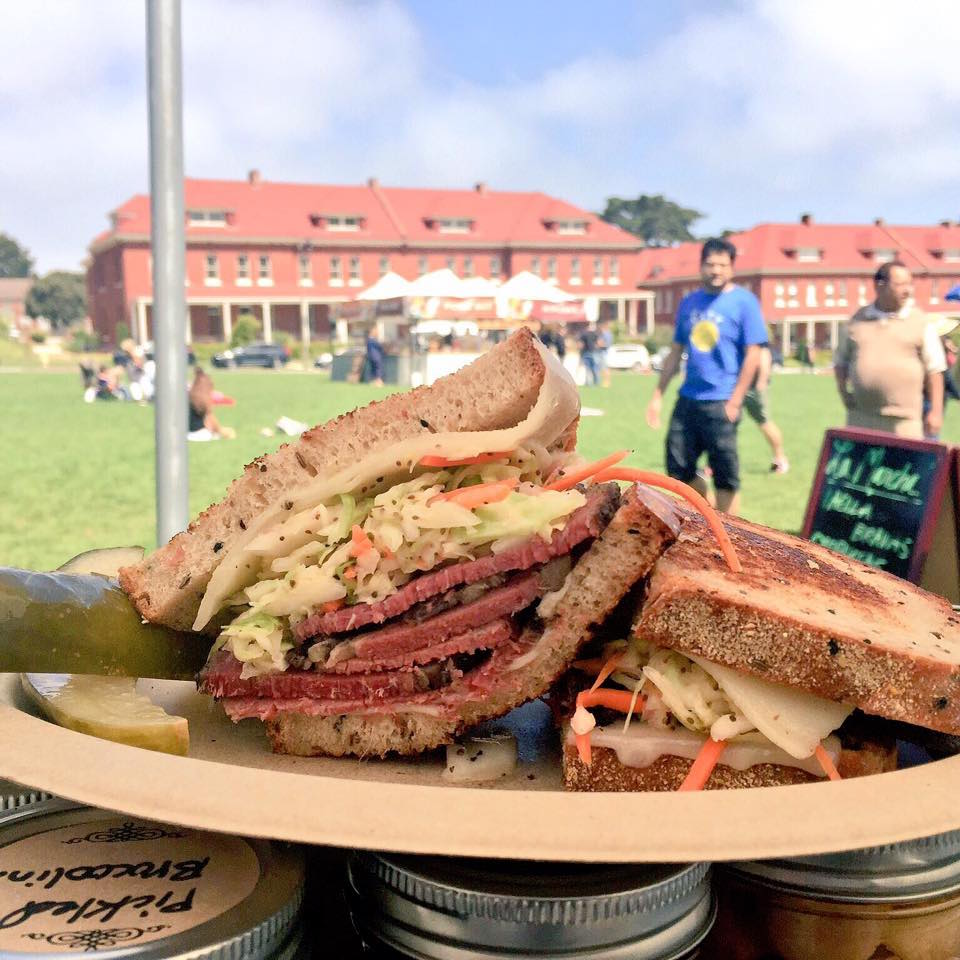 A pastrami sandwich from Shorty Goldstein's at Presidio Picnic