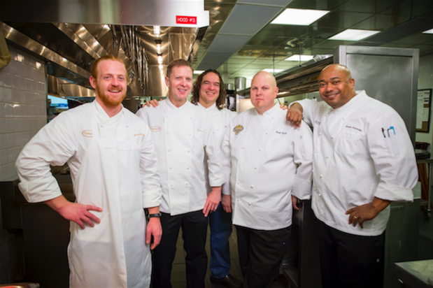 L-R: Chef James Richards from Table 10; Chef Sean Roe, culinary director of Emeril Lagasse's four Las Vegas restaurants; Chef Jean Paul Labadie from Emeril's New Orleans Fish House; Chef Scott Pajak from Lagasse's Stadium; and Chef Ronnie Rainwater from Delmonico Steakhouse