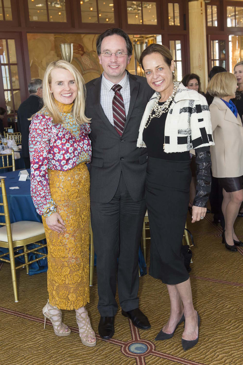 Jane Mudge, Matthew Shilvock and Charlot Malin attend the SF Opera Guild's annual luncheon on November 8, 2016