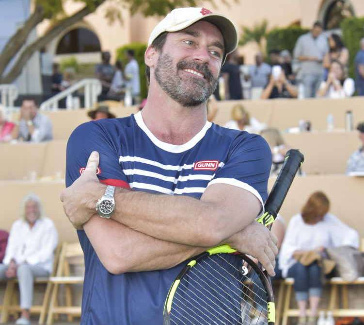 Actor Jon Hamm plays tennis at 13th Annual Desert Smash benefitting St. Jude Children's Research Hospital on March 7, 2017 in Rancho Mirage