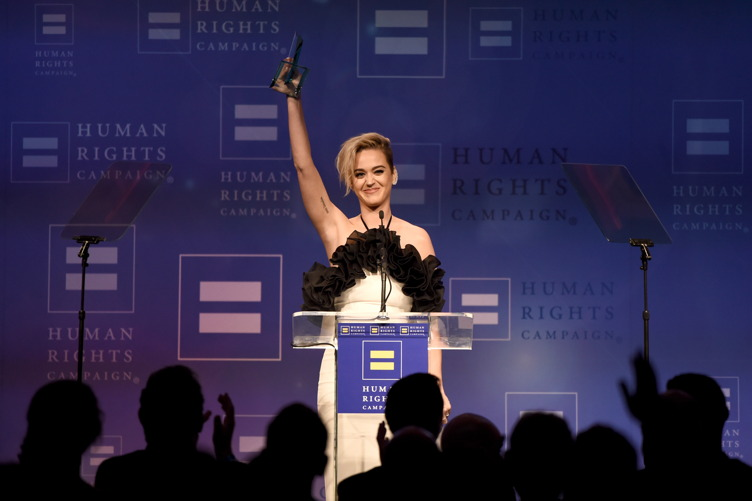 Katy Perry accepts the HRC National Equality Award onstage at The Human Rights Campaign 2017 Los Angeles Gala Dinner