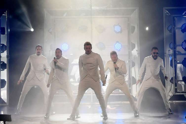 "Singers Kevin Richardson, Howie Dorough, Nick Carter, Brian Littrell and AJ McLean of the Backstreet Boys perform during the launch of the group's residency ""Larger Than Life"" at The Axis at Planet Hollywood Resort."