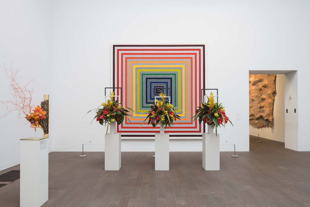 Floral arrangements mimic the art in the de Young's permanent collections.