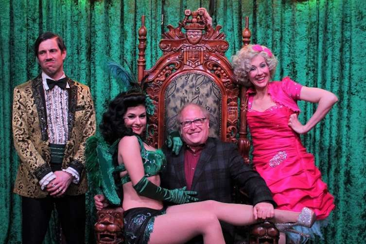"The Gazillionaire, left, hangs with Melody Sweets, Danny Zuker and Wanda Widdles after ""Absinthe."""