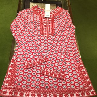 TORY BURCH Jayne Tunic in Color Nantucket Red Primrose