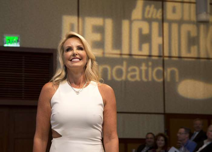 Linda Holliday at the Bill Belichick Foundation Annual Hall of Fame Huddle