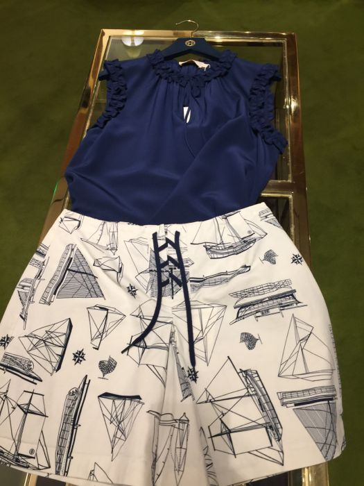 NAUTICAL LOOKING OUTIFT WITH NAVY TOP AND SKORT