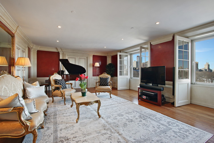 The living room in David Bowie's former condo at 160 Central Park South