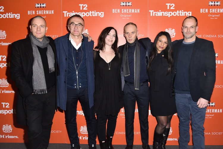 "NEW YORK, NY - MARCH 14: Ewan McGregor, Danny Boyle, Ewen Bremner and Jonny Lee Miller attend TriStar Pictures & The Cinema Society Host a Screening of ""T2 Trainspotting"" at Landmark Sunshine Cinema on March 14, 2017 in New York City. (Photo by Jared Siskin/Patrick McMullan via Getty Images)"