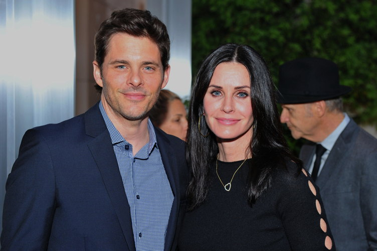 James Marsden and Courteney Cox pose for photos at the UCLA Institute of the Environment and Sustainability Annual Gala to celebrate Innovators for a healthy planet and honoring Paul G. Allen and Toyota