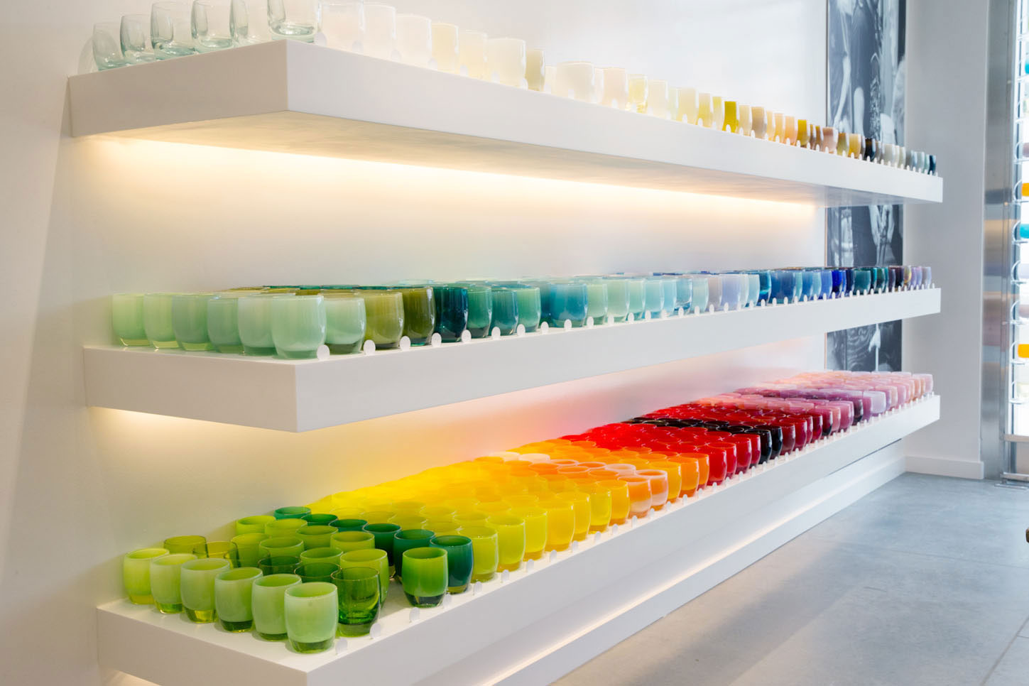 Votives on display at Glassybaby