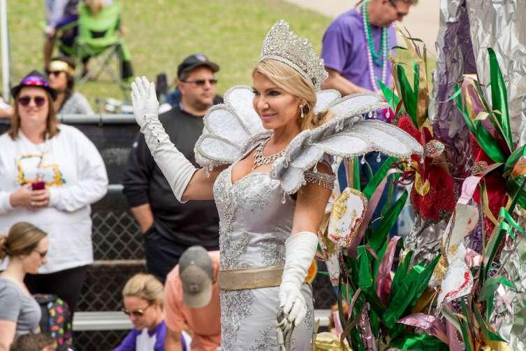 Susan Hoff as Queen of the Mid-City Krewe at Mardi Gras