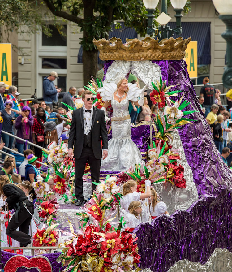 Susan Hoff as Queen of the Mid-City Krewe at Mardi Gras